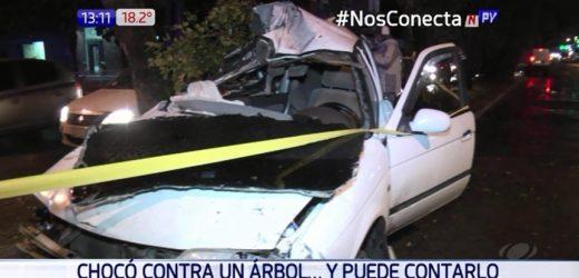 Conductor se salva de milagro tras aparatoso accidente