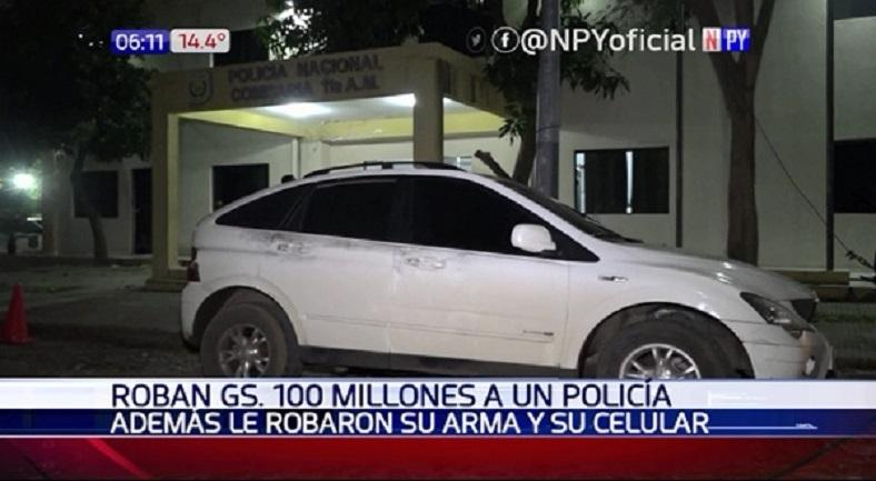 Asaltaron a policía y se llevan millonario monto