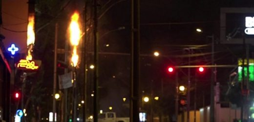 Tendido eléctrico arde en llamas sobre Mcal. López