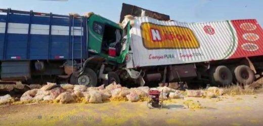 Choque frontal entre camiones deja un fallecido
