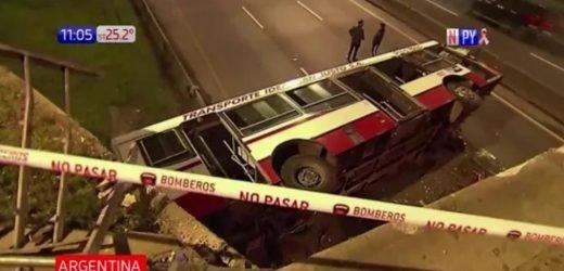 ¡Impactante! Colectivo cae de un viaducto